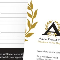 Appointment card for Alpha Dental Care