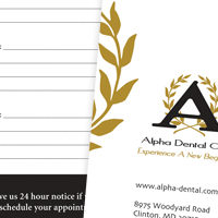 Appointment Card thumbnail for Alpha Dental Care