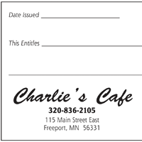 Gift Certificate thumbnail for Charlies Cafe
