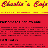 Website thumbnail for Charlies Cafe