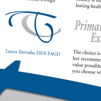 Direct mail brochure spread thumbnail for Laura Torrado, DDS, FAGD